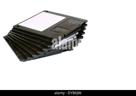 Floppy Discs In A Row With Copy Space on the Right - Stock Photo