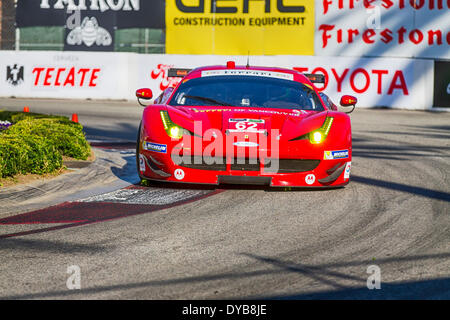 Long Beach, CA, USA. 11th Apr, 2014. Long Beach, CA - Apr 11, 2014: Risi Competizione Ferrari races through the - Stock Photo