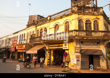 French colonial-era commercial buildings in Kratie, Cambodia - Stock Photo