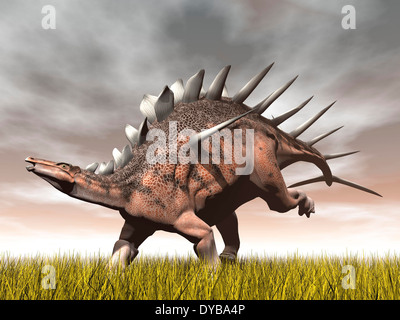 Kentrosaurus dinosaur running on the yellow grass. - Stock Photo