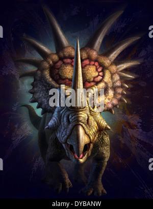 Full on view of the horned dinosaur, Styracosaurus. - Stock Photo