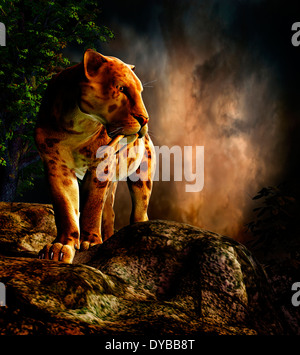 Sabre-toothed cat on the prowl. - Stock Photo