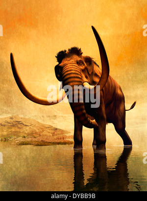 A woolly mammoth in a dramatic frozen sunset. - Stock Photo
