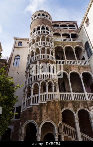 The external staircase (Scala Contarini del Bovolo) of Palazzo Contarini del Bovolo, Venice, Italy - Stock Photo