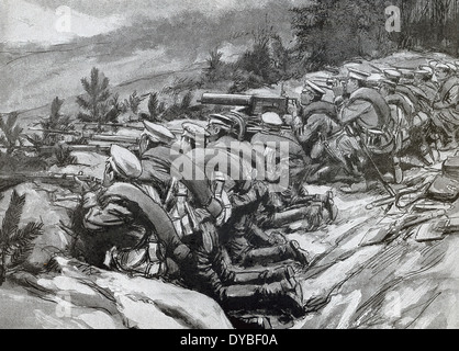 This contemporary illustration shows Russian soldiers in trenches awaiting attack by Austrian troops during World - Stock Photo