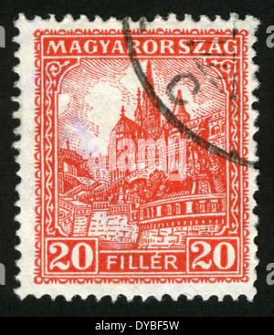 HUNGARY - CIRCA 1926: stamp printed by Hungary, shows View of Budapest, circa 1926 - Stock Photo
