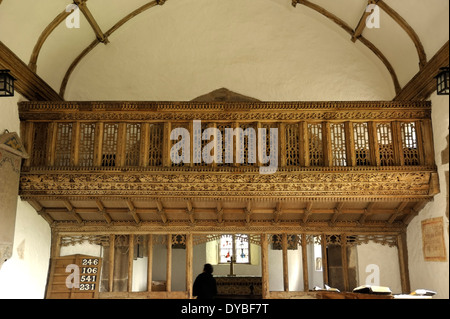Rood Screen, Partrishow church of St Ishow (Issui) - Stock Photo