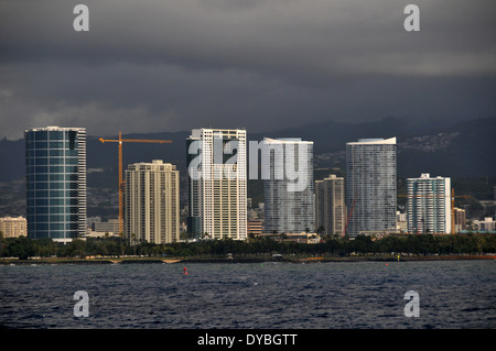 Buildings at Ala Moana beach viewed from the ocean, Oahu, Hawaii, USA - Stock Photo