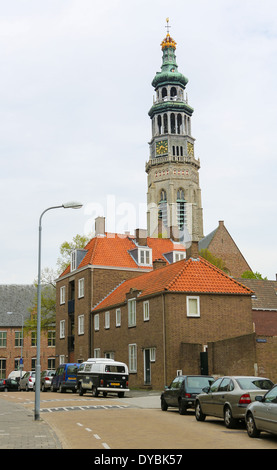 Lange Jan tower of the abbey in Middelburg, capital of Zeeland province, the Netherlands. - Stock Photo