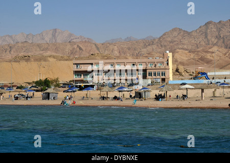 Resort near the coast, Gulf of Aqaba, Red Sea, Jordan - Stock Photo