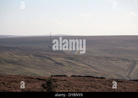 The Cat and Fiddle Road The A537 between Macclesfield and Buxton and Cat and Fiddle Inn fr0m Shining Tor Derbyshire - Stock Photo