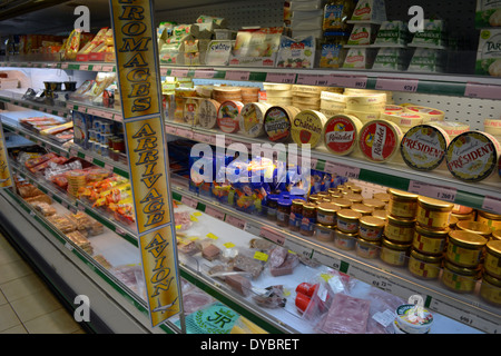 Imported French cheese in the supermarket in Matautu, traces of the French influence in Wallis Island, Wallis and - Stock Photo