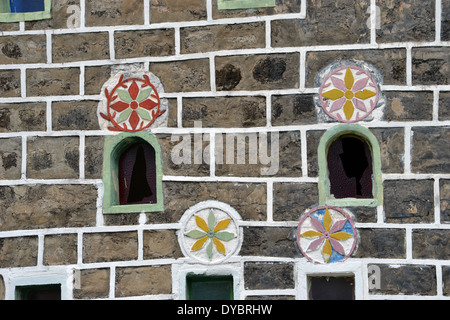 Window detail of the church of the Sacred Heart, Matautu, Wallis Island, Wallis and Futuna, Melanesia, South Pacific - Stock Photo