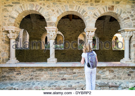 Abbaye Saint-Martin du Canigou, Pyrénées-Orientales, Languedoc-Roussillon, France - Stock Photo