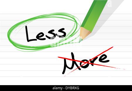 Choosing less instead of more. illustration design over white - Stock Photo