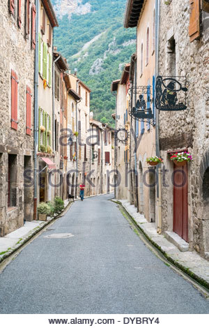 Streets in small town of Villefranche-de-Conflent, Pyrénées-Orientales, Languedoc-Roussillon, France - Stock Photo
