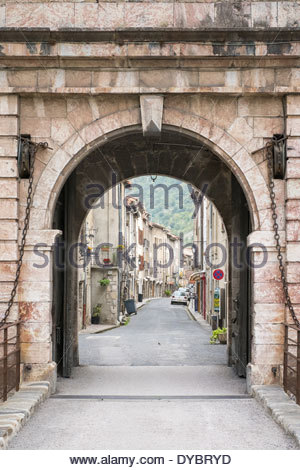 City gate entrance to town of Villefranche-de-Conflent, Pyrénées-Orientales, Languedoc-Roussillon, France - Stock Photo
