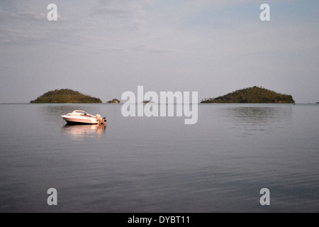 Luaniva and Fugalei Islands in front of the capital city of Matautu, Wallis Island, Wallis and Futuna, Melanesia, - Stock Photo