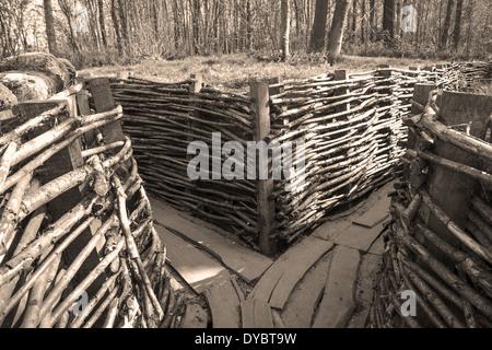 german trench world war one flanders fields - Stock Photo
