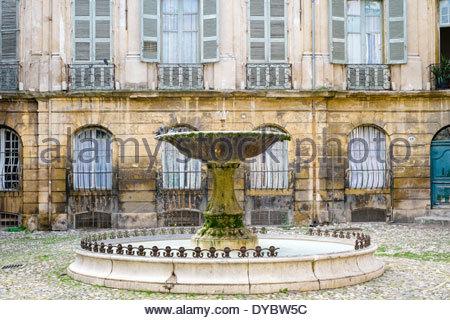 Fountain on Place Albertas, Aix-en-Provence, Bouches-du-Rhône, Provence-Alpes-Côte d'Azur, France - Stock Photo