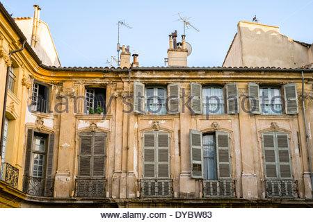 Windows and shutters of old buildings on Place Albertas, Aix-en-Provence, Bouches-du-Rhône, Provence-Alpes-Côte - Stock Photo