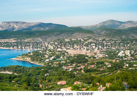 High-angle view of town of Cassis, Bouches-du-Rhône, Provence-Alpes-Côte d'Azur, France - Stock Photo