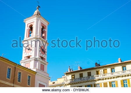 Clocktower on Place du Palais de Justice, Vieille Ville (Old Town), Nice, Alpes-Maritimes, Provence-Alpes-Côte d'Azur, - Stock Photo