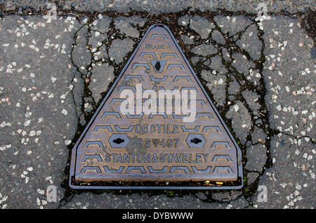 An example of a Centurion Ductile manhole cover made by Stanton and Staveley ironworks. - Stock Photo