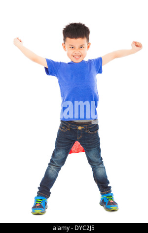 angry superhero kid hero ready fighting pose over white - Stock Photo