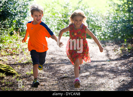 Twins boy and girl aged 5 / years - Stock Photo