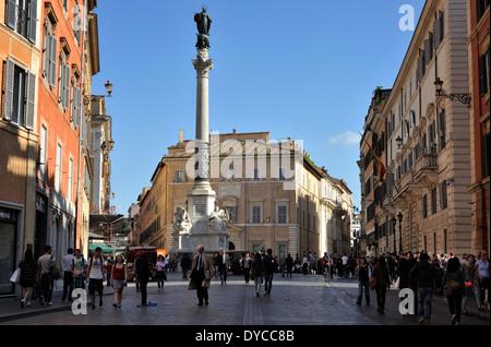 italy, rome, colonna dell'immacolata and palazzo di propaganda fide - Stock Photo