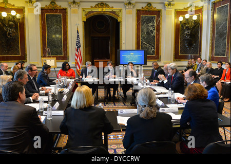 Secretary Kerry Chairs the President's Interagency Task Force to Monitor and Combat Trafficking in Persons - Stock Photo