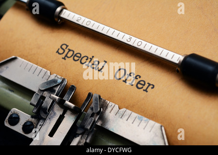 Special offer text on typewriter - Stock Photo