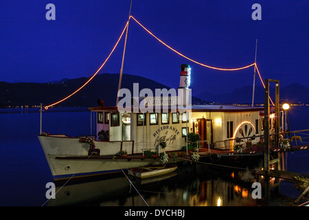 Floating Restaurant, Lake Maggiore, Lombardy, Italy - Stock Photo