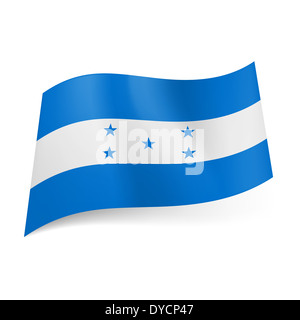 National flag of Honduras: white stripe with five stars between two blue bands - Stock Photo