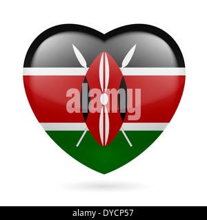 Heart with Kenyan flag colors. I love Kenya - Stock Photo