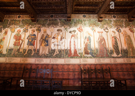 baronial hall, frescoes by the master of the manta, castle of the manta, cuneo, langhe, piemonte, italy, europe - Stock Photo