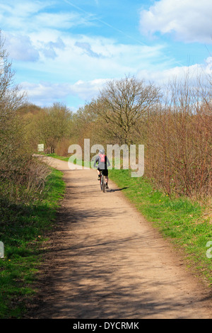 Cyclist on the Nation Cycle Network 6, Trans Pennine Trail, Upper Don Trail, Wortley, Barnsley, South, Yorkshire, - Stock Photo