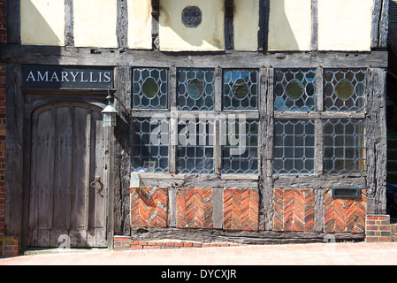 Detail of the ground floor frontage of a medieval building in the High Street, Ditchling, East Sussex, UK - Stock Photo