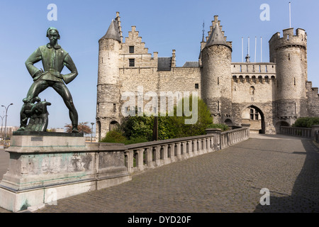 Lange Wapper statue and Antwerp Castle AKA Steen (stone). - Stock Photo
