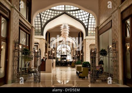 The Four Seasons Hotel Gresham Palace lobby in Budapest, Hungary - Stock Photo