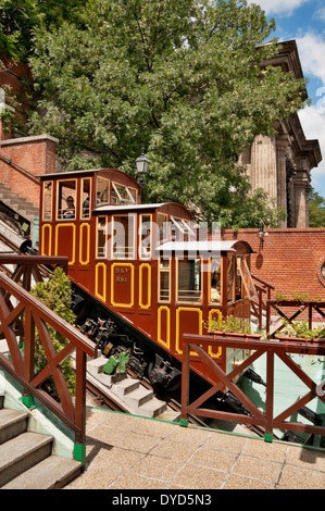 The Funicular car that goes up to Castle Hill in Budapest, Hungary; - Stock Photo