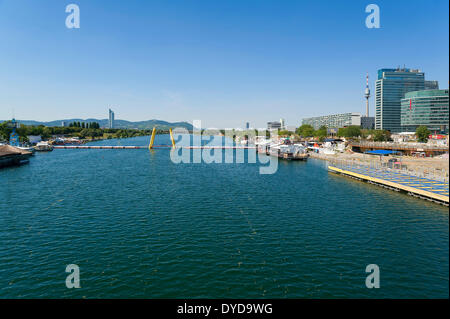 Danube River, left and right, recreational areas, Vienna, Vienna State, Austria - Stock Photo