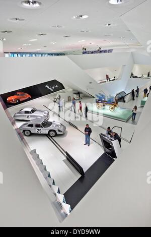 Exhibition space, Porsche-Museum, Stuttgart, Baden-Württemberg, Germany - Stock Photo