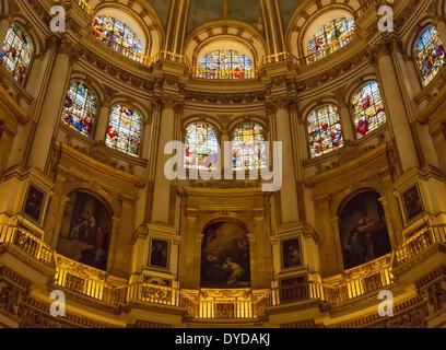 Interior of the Cathedral in Granada, Granada province, Andalusia, Spain - Stock Photo