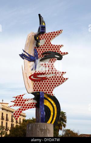 Pop art sculpture 'El Cap de Barcelona', Barcelona Head by artist Roy Lichtenstein, Barcelona, Catalonia, Spain - Stock Photo
