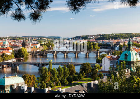 View of Prague and bridges over the Vltava river in the Czech Republic. - Stock Photo