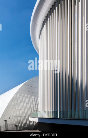 Part of the modern Philharmonie concert hall in Luxembourg city. - Stock Photo