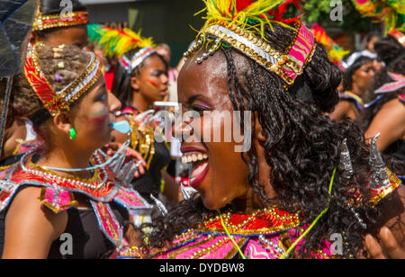 Costumed dancer at Leicester Caribbean Carnival. - Stock Photo