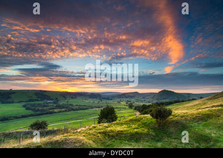 View of Chrome Hill and Parkhouse Hill from Hollinsclough. - Stock Photo